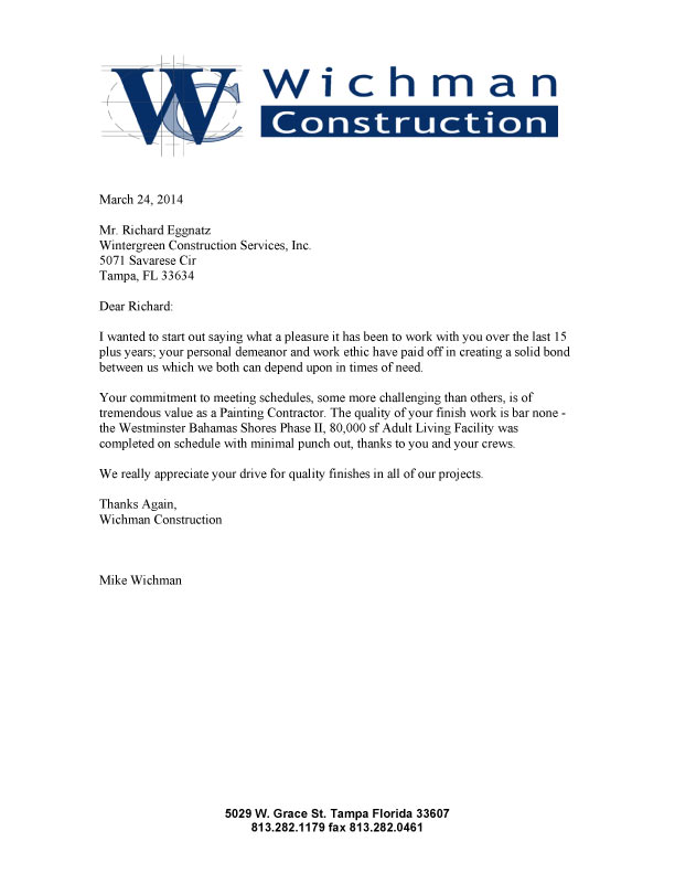 Construction Work Sample Letter Of Intent For Construction Work